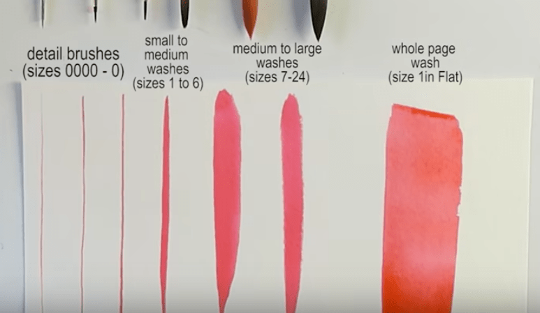 Watercolor brushes: brush size
